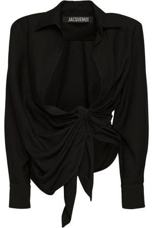 Jacquemus | Mujer Camisa De Viscosa Drapeada Con Lazo 32