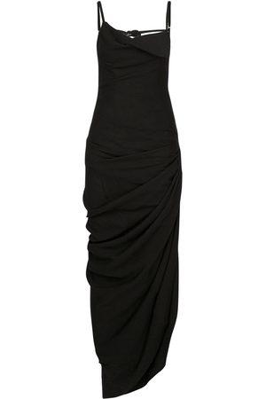 Jacquemus | Mujer Vestido Largo De Viscosa Drapeado Con Abertura 32