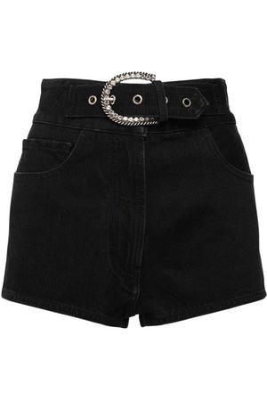 Alessandra Rich   Mujer Shorts De Denim De Algodón Con Cintura Alta 24