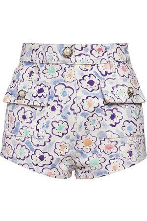 Alessandra Rich | Mujer Shorts De Gabardina De Algodón Estampado Floral 24