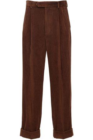 Gucci Hombre Pantalones de cuero - | Hombre Pantalones De Pana Con Parche De Piel 44
