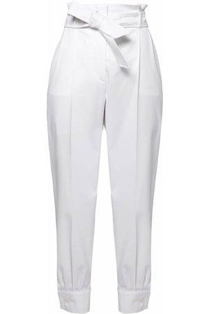Max Mara | Mujer Pantalones De Sarga De Algodón Con Cintura Alta 36