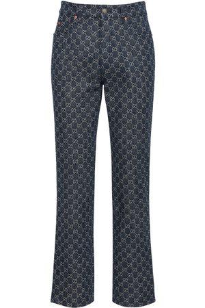 """Gucci   Hombre Jeans """"gg"""" De Denim Jacquard Con Detalles De Piel 33"""