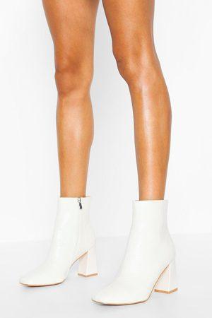 Boohoo Botines - Zapatos Estilo Botines Anchos Con Tacón Grueso De Cocodrilo