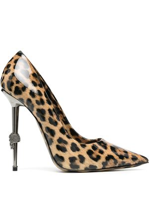 Philipp Plein Zapatos de tacón con motivo de leopardo