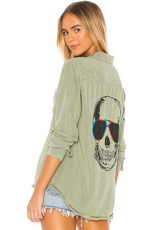 LAUREN MOSHI Camisa de botones sloan en color verde talla L en - Green. Talla L (también en M, S, XS).