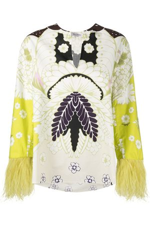 VALENTINO Feather-embellished floral print blouse