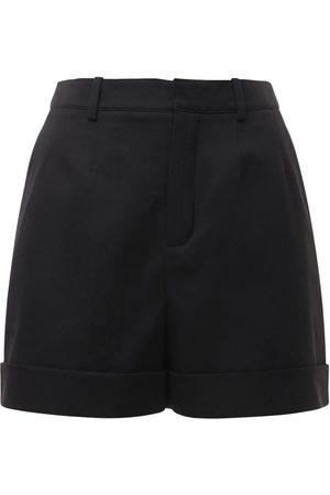 Saint Laurent | Mujer Shorts De Sarga De Lana Con Cintura Alta 34