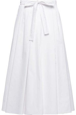 Prada Falda midi de popelina con pliegues