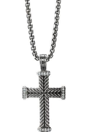 David Yurman Colgante de cruz en plata de ley con diamantes