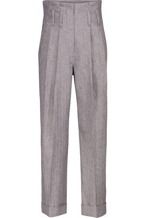 Brunello Cucinelli Pantalones de lino de tiro alto