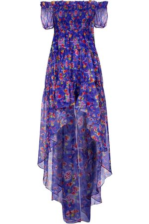 Caroline Constas Vestido Dora de chifón floral
