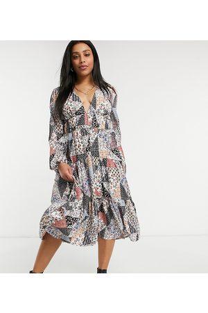 Skylar Rose Vestido midi amplio con cuello de pico y estampado de patchwork de estilo años 70 de