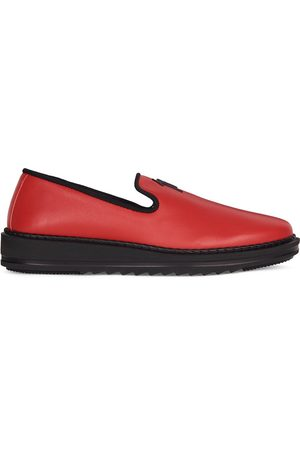Giuseppe Zanotti Hombre Chanclas - Slip-on leather slippers with logo detail