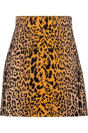 Miu Miu Minifalda de lana y mohair estampada