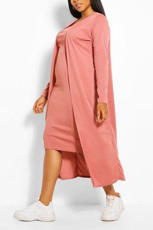 Boohoo Conjunto De Kimono Y Midi En Canalé Plus, Pink