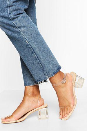 Boohoo Zapatos De Tacón Ancho Bajo Transparentes, Color Carne