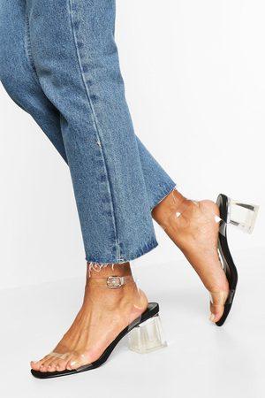 Boohoo Mujer Tacón - Zapatos De Tacón Ancho Bajo Transparentes