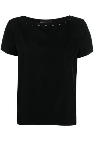 Emporio Armani Camiseta con cuello barco y apliques