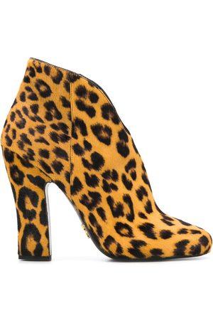 Prada Mujer Botines - Botines con estampado de leopardo