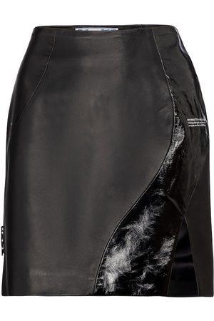 OFF-WHITE Minifalda de piel de tiro alto