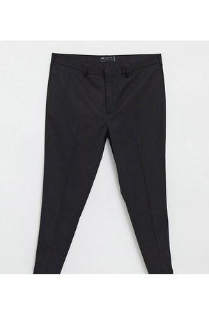 ASOS Pantalones de traje de boda superpitillo negros con microtextura de Plus