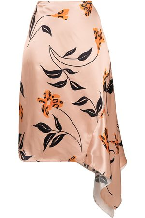 Marni Falda de satén con estampado floral