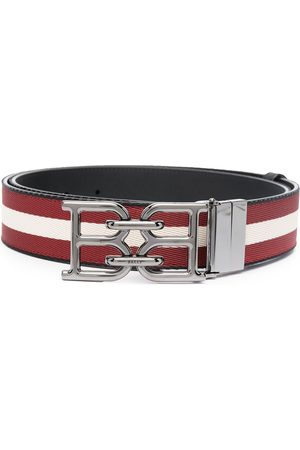 Bally B-Chain buckled striped belt