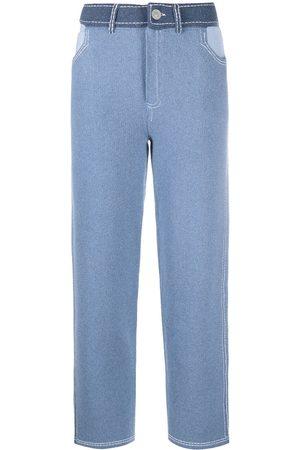 Barrie Mujer Pantalones de talle alto - Pantalones de talle alto con diseño patchwork