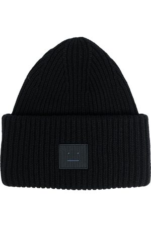 Acne Studios Gorros - Face patch ribbed beanie