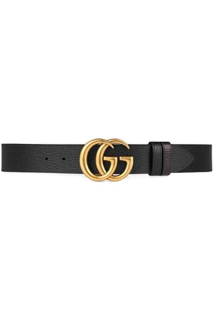 Gucci Cinturón de cuero con hebilla GG