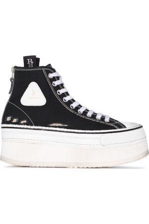R13 Zapatillas altas con efecto envejecido
