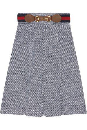 Gucci Horsebit detail pleated skirt