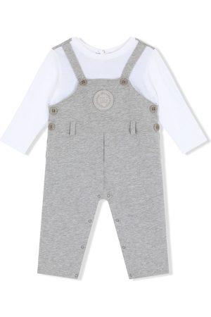 Dolce & Gabbana Dungarees-style logo-patch romper