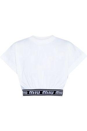 Miu Miu Mujer Crop tops - Crop top de algodón con logo