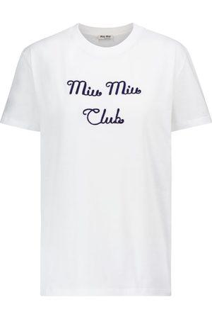 Miu Miu Camiseta de algodón bordada