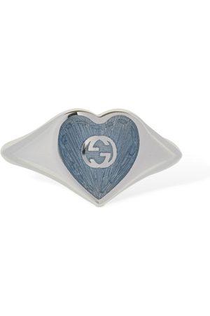 Gucci | Mujer Anillo Con Corazón Esmaltado Y G Entrelazadas /l.blue 13