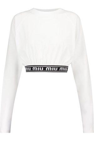 Miu Miu Mujer Crop tops - Crop top de punto fino con logo