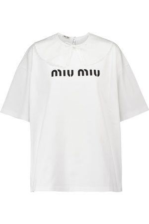 Miu Miu Camiseta de algodón con logo
