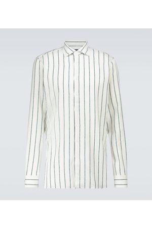 LARDINI Camisa en mezcla de lino de rayas