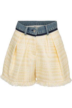 SACAI Shorts de tweed y denim