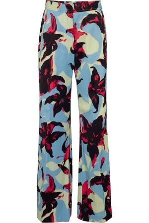 DRIES VAN NOTEN Pantalones anchos de satén florales