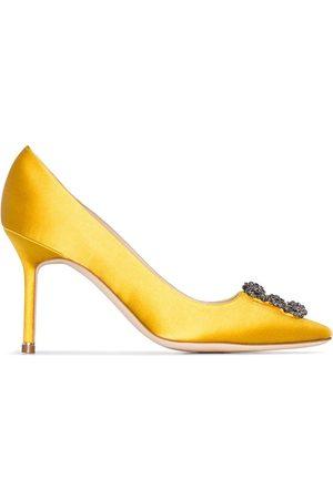 Manolo Blahnik Mujer Tacón - Zapatos de tacón Hangisi 90 de satén con hebilla con cristales
