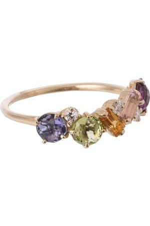Suzanne Kalan Anillo Rainbow de oro de 14 ct con zafiros y diamantes