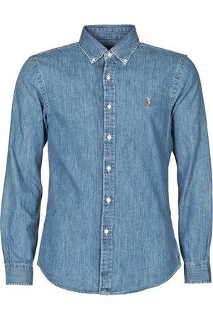 Polo Ralph Lauren Camisa manga larga CHEMISE CINTREE SLIM FIT EN JEAN DENIM BOUTONNE LOGO PONY PLAYER para hombre