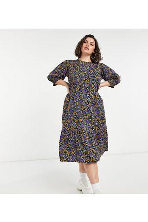Yours Mujer Casual - Vestido midi de corte amplio en floral de