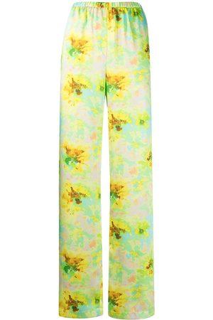 Msgm Mujer Pantalones de talle alto - Pantalones con motivo floral