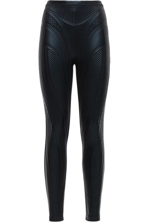 MUGLER | Mujer Leggings De Jersey Brillante Stretch Grabados 40