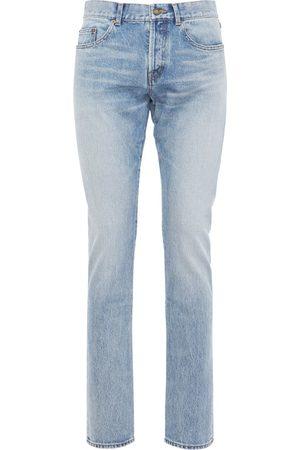 Saint Laurent | Hombre Jeans Slim Fit De Denim De Algodón Con Logo 17cm 33