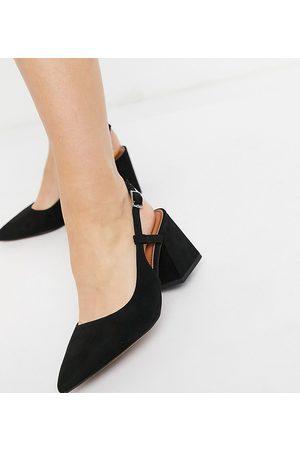 ASOS Zapatos negros de tacón medio destalonados Sydney de Wide Fit